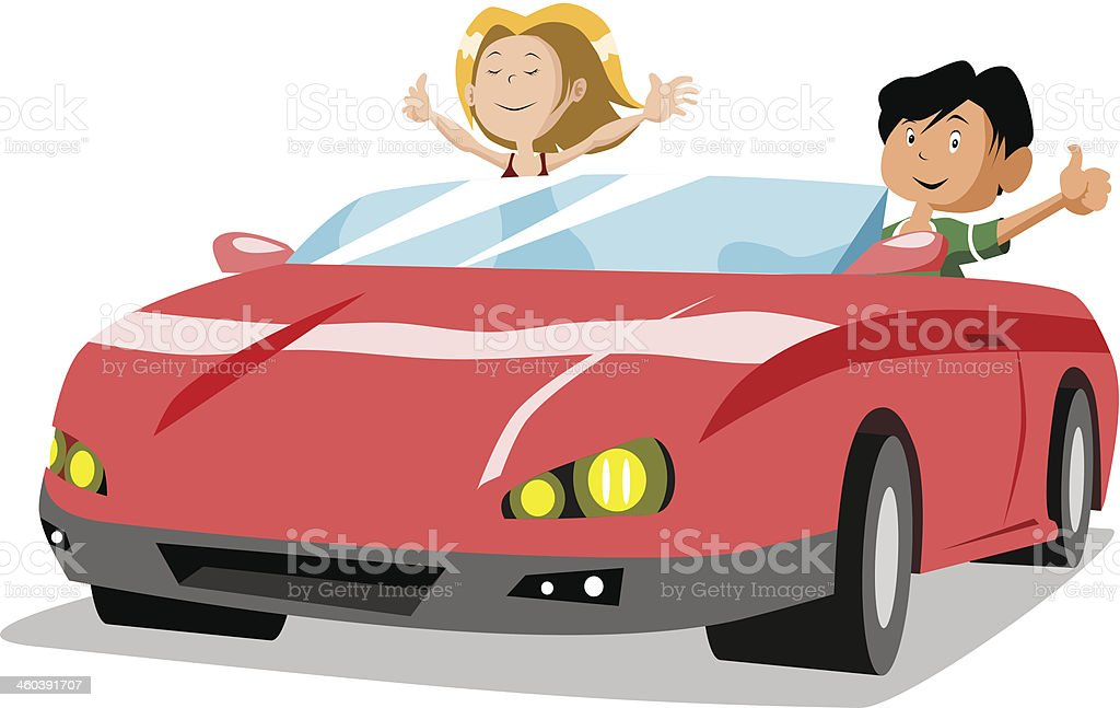 ride in a sports car vector art illustration