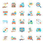 A set of car / ride share icons in flat color.