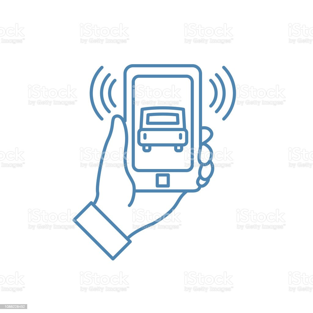 Ride Share Mobile Phone Thin Line Icon Ride Sharing Concept vector art illustration