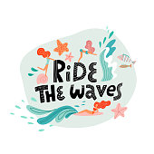 Ride the wave print with lettering and young women swimming in the ocean waves. Flat Vector hand drawn illustration in scandinavian style
