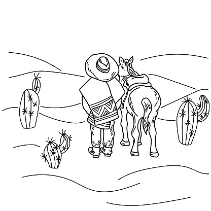 Rider and horse in the desert among cacti, rear view of cowboy and horse, wild southwest desert coloring page
