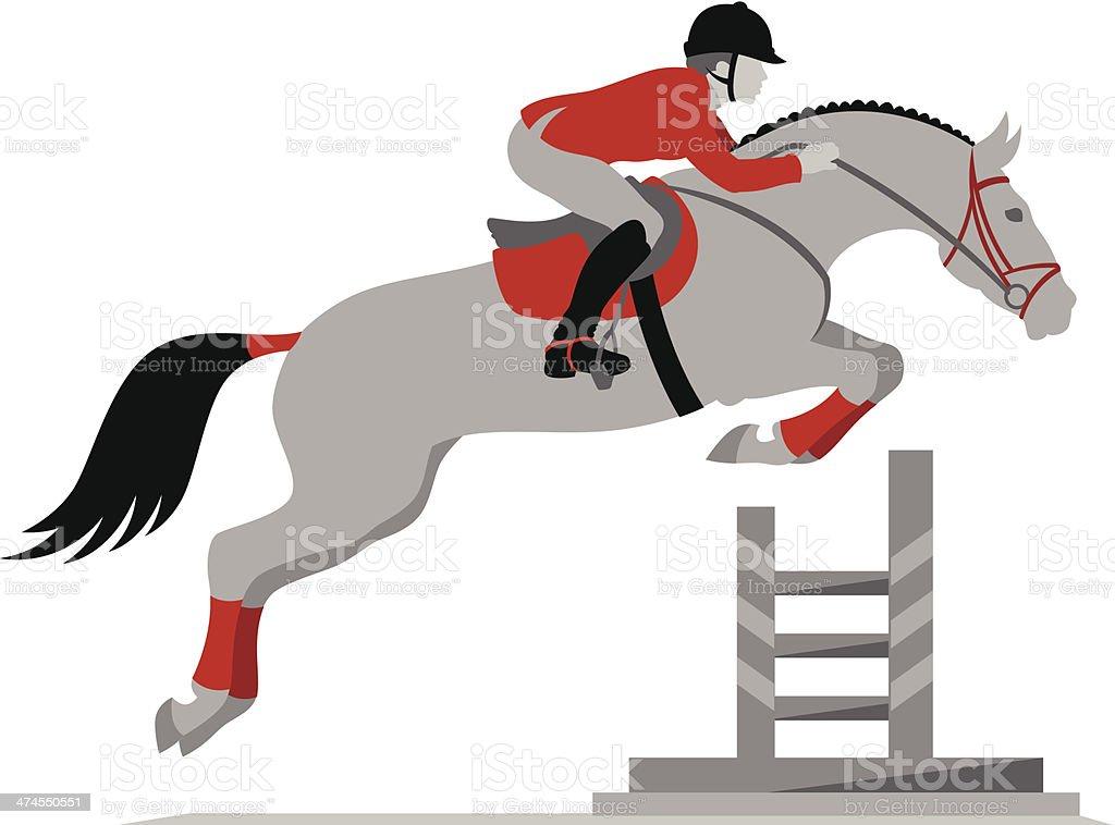 Rider on a horse jumping vector art illustration