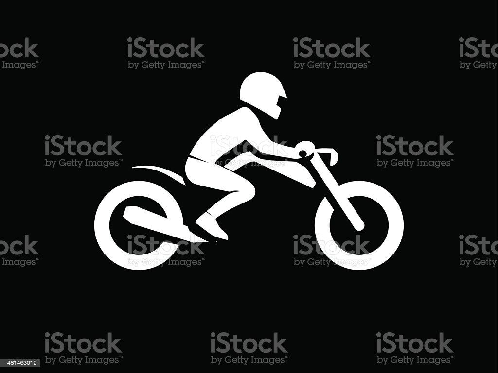 rider on a motorcycle vector art illustration