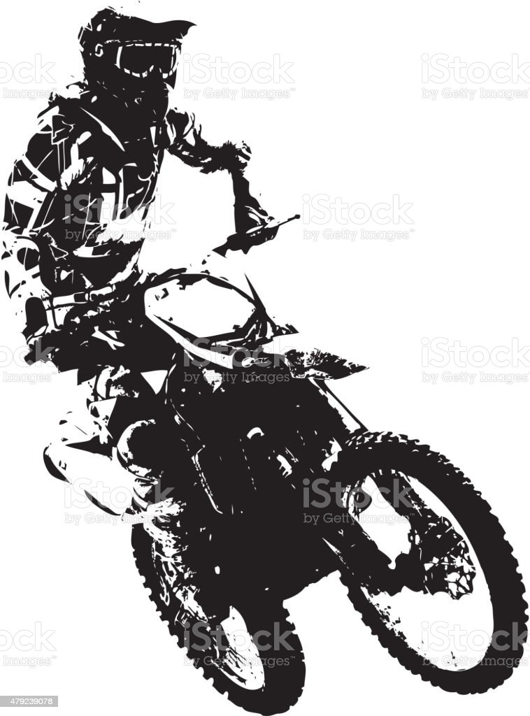 Rider participates motocross championship. vector art illustration