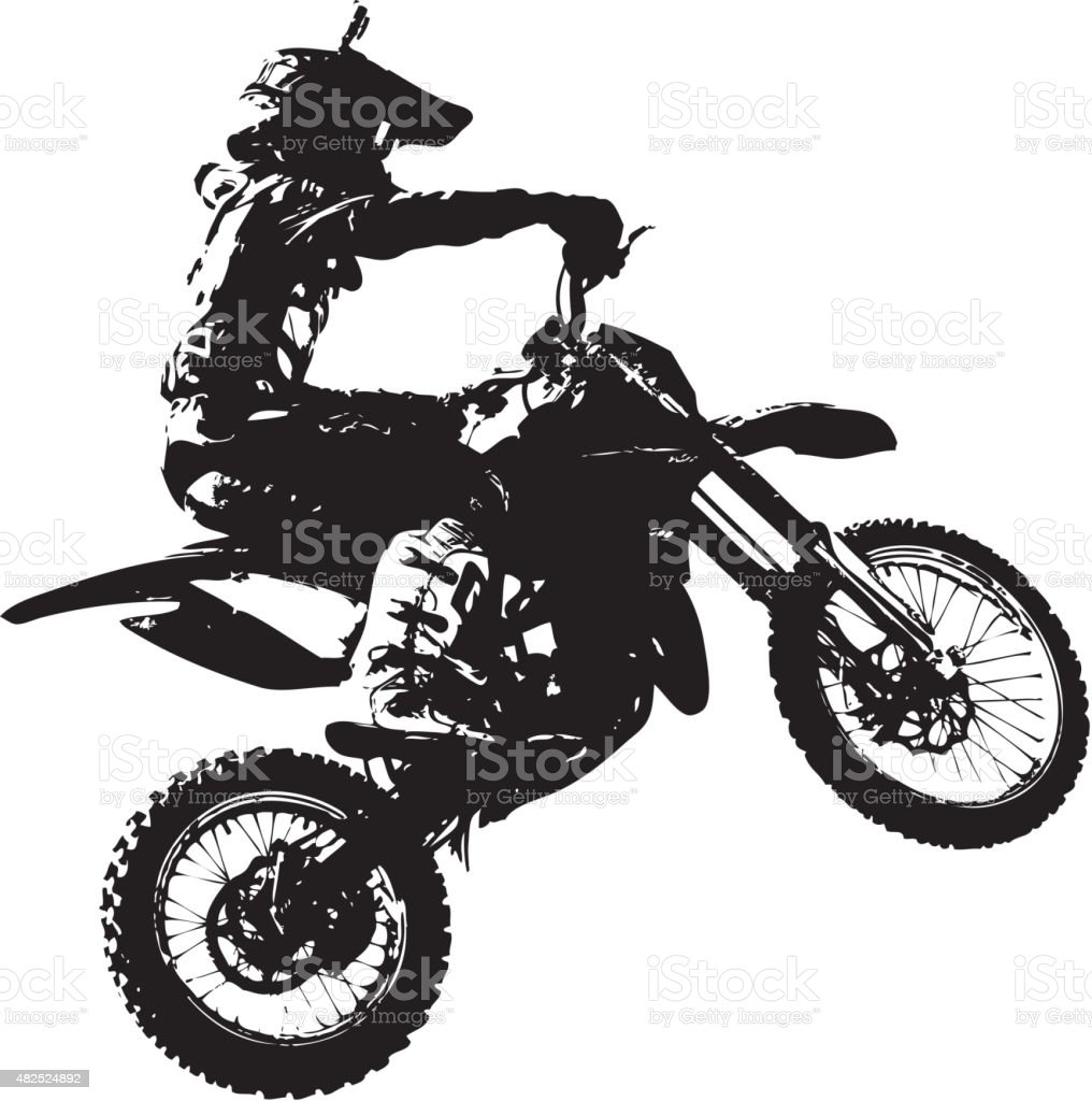 Rider participates motocross championship.  Vector illustration. vector art illustration