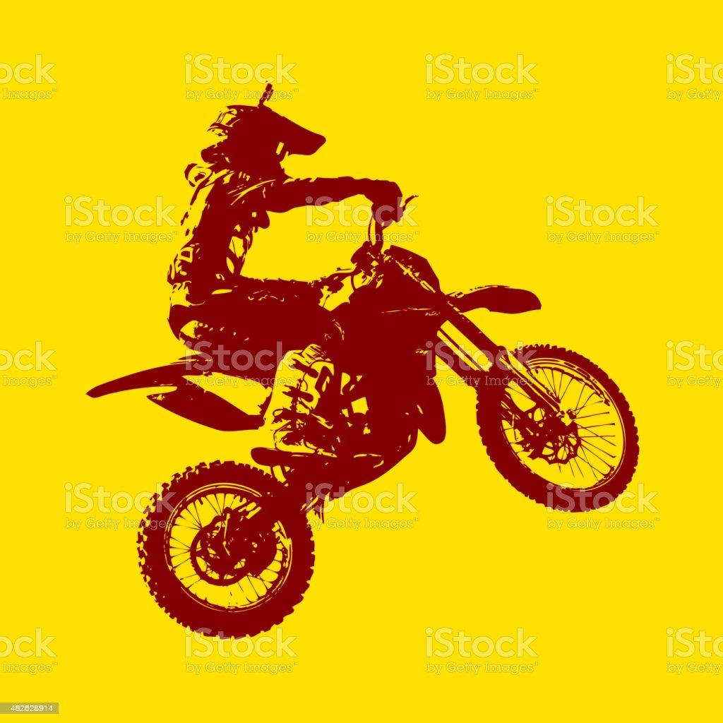 Rider participates motocross championship.  Vector illustration. vector art illustration
