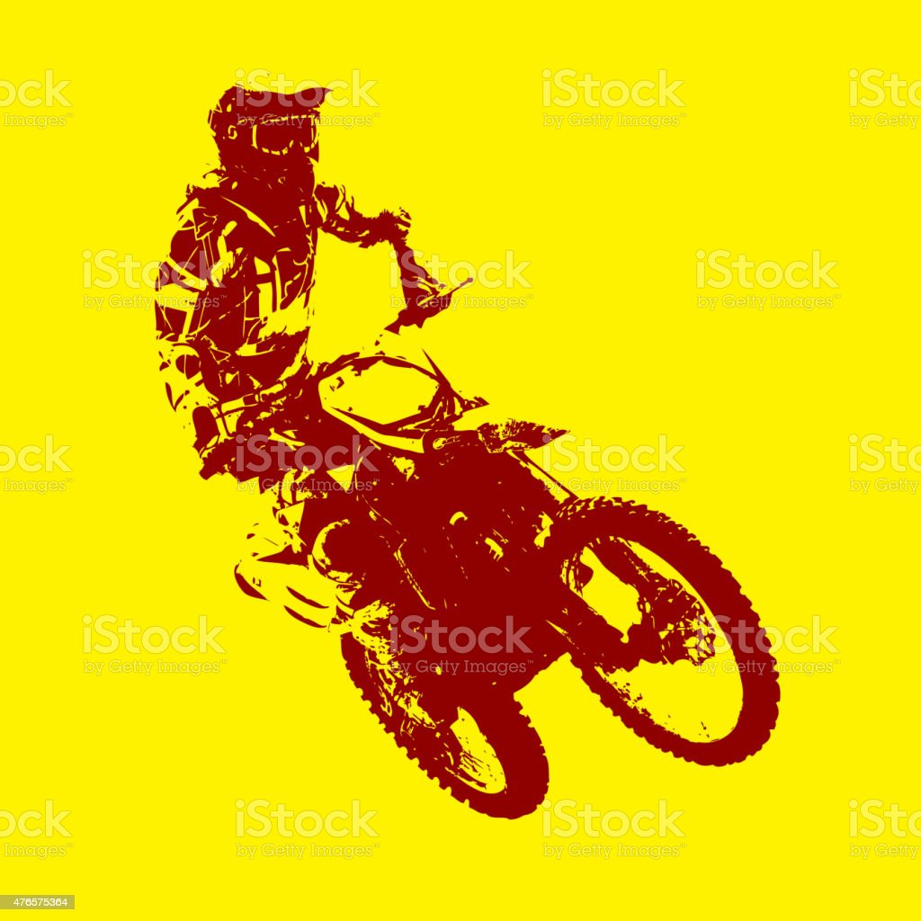 Rider participates motocross vector art illustration