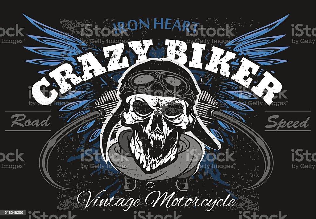 Rider skull with retro racer attributes. Grunge print. Vintage style vector art illustration
