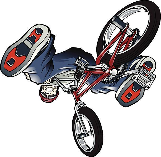 BMX rider upside down vector art illustration