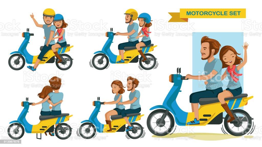 Riders couple vector art illustration