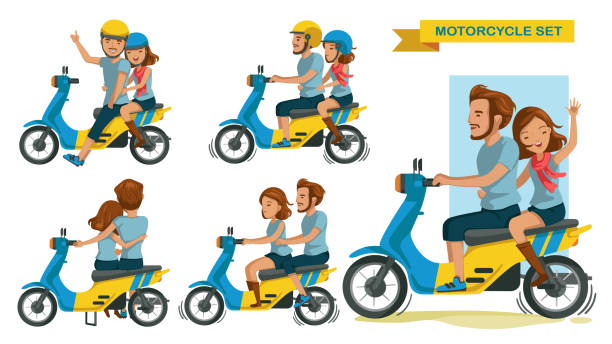 reiter-paar - fahrzeug fahren stock-grafiken, -clipart, -cartoons und -symbole
