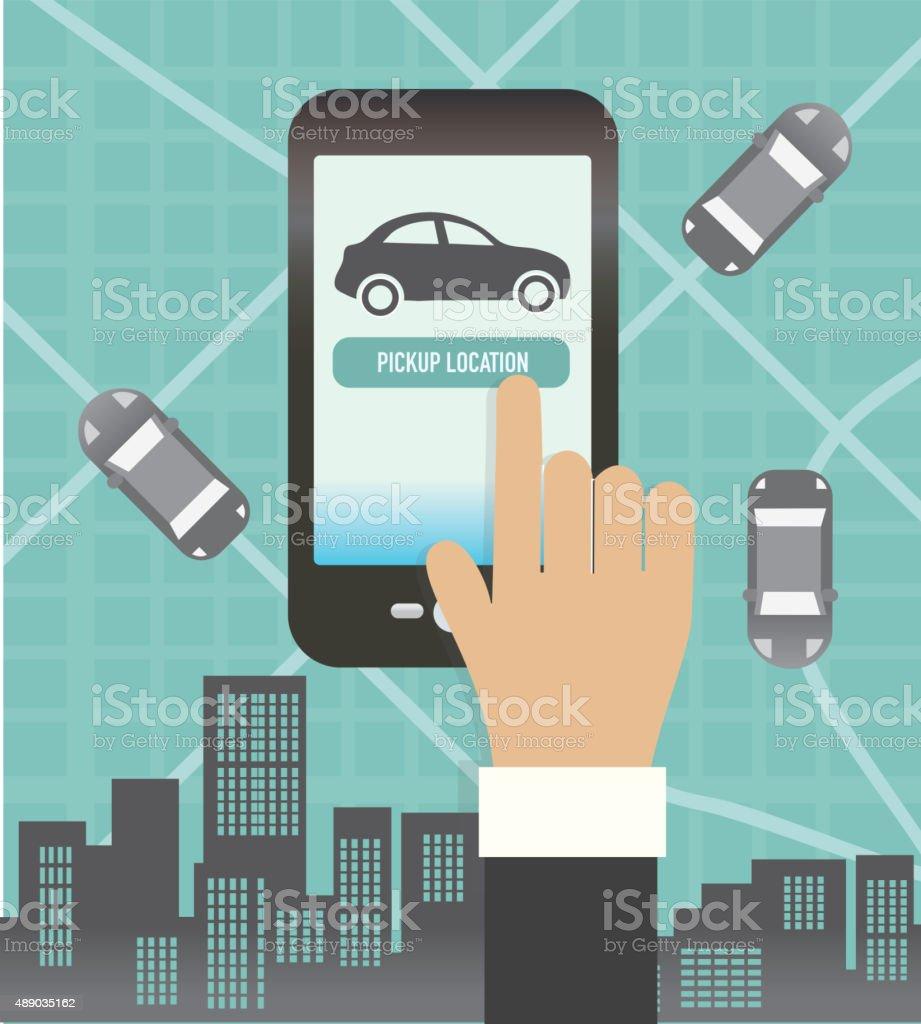 Rideshare teléfono móvil o aplicación concepto de camino a la oficina - ilustración de arte vectorial