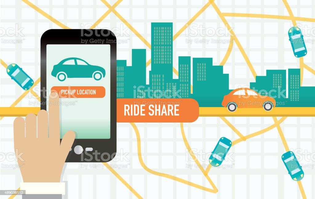 Urban Rideshare teléfono móvil o aplicación concepto de camino a la oficina - ilustración de arte vectorial