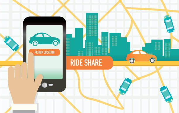 Rideshare or commuting mobile phone app concept vector art illustration