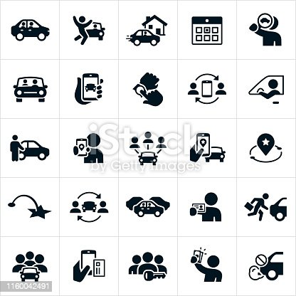 A set of ride sharing and carpooling icons. The icons include drivers, riders, carpooling, a driver pulling up to a house, calendar, search for a ride, a car with passenger, using a smartphone to find a ride, a driver standing in front of car, a destination marker, map, traffic, a driver holding a drivers license, multiple people in a car, paying for a ride-share via a smartphone, a driver holding cash and the elimination of CO2 emissions achieved by using a ride-share service.
