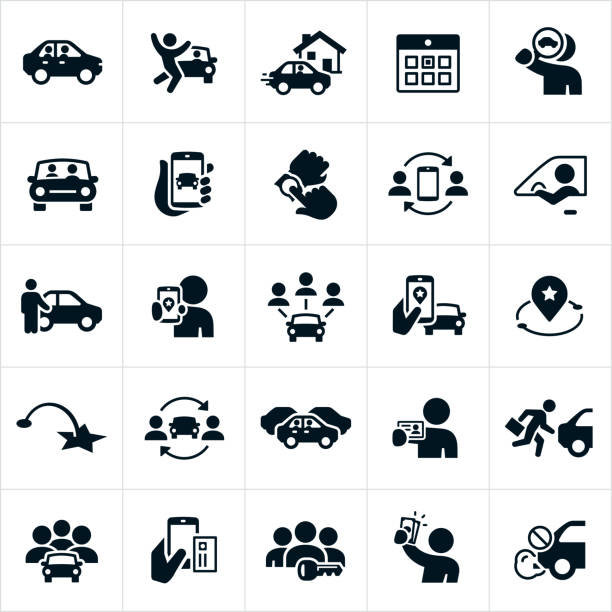 Ridesharing and Carpooling Icons A set of ride sharing and carpooling icons. The icons include drivers, riders, carpooling, a driver pulling up to a house, calendar, search for a ride, a car with passenger, using a smartphone to find a ride, a driver standing in front of car, a destination marker, map, traffic, a driver holding a drivers license, multiple people in a car, paying for a ride-share via a smartphone, a driver holding cash and the elimination of CO2 emissions achieved by using a ride-share service. car icons stock illustrations
