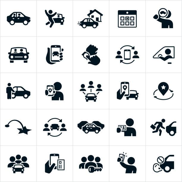 bildbanksillustrationer, clip art samt tecknat material och ikoner med ridesharing och bilpooler ikoner - kör