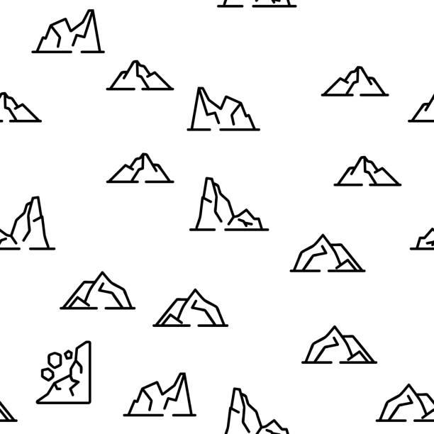 Ridge Different Form Vector Seamless Pattern Ridge Different Form Vector Seamless Pattern Thin Line Illustration adventure patterns stock illustrations