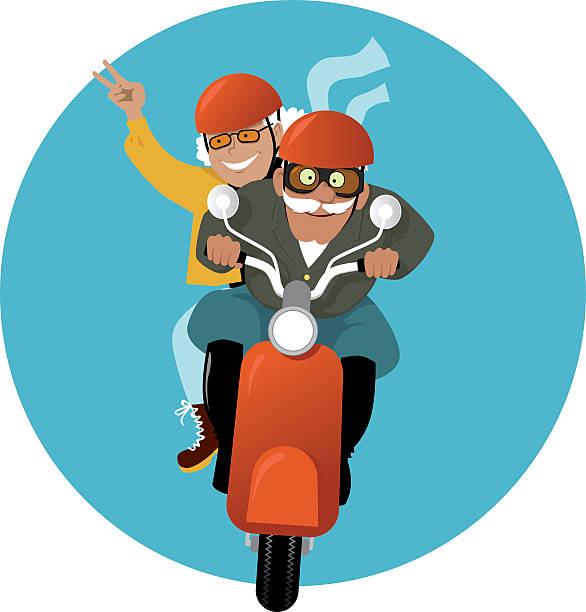 Auf einem scooter – Vektorgrafik