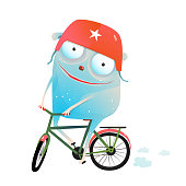 Funny cute animal enjoying bicycle. Vector illustration.