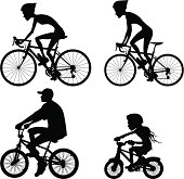 Riding bicycle silhouette collection