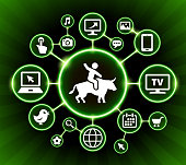 Riding Bull Internet Communication Technology Dark Buttons Background. The main icon is placed inside a glowing green circle in the center of this 100% royalty free vector illustration. It is connected to a network of sixteen additional circles with technology and computer internet communication icons on them. These icons include various devices ranging from cell phone to computer monitor. The background of the illustration is  black with glowing green gradient.