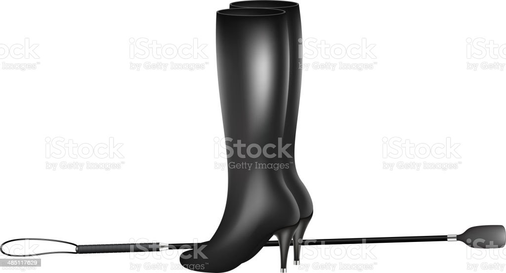 Riding crop and high heels leather boots vector art illustration