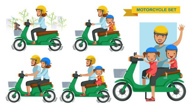 Riding motorcycle set vector art illustration