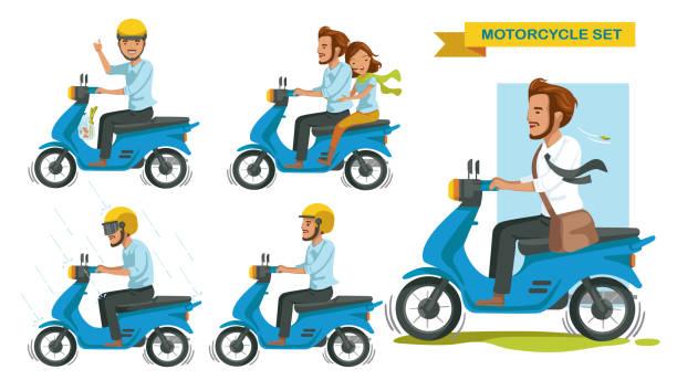 ilustrações de stock, clip art, desenhos animados e ícones de riding motorcycle - helmet motorbike
