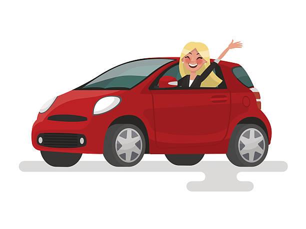 ilustrações, clipart, desenhos animados e ícones de riding on the machine. happy blond woman rides - carro mulher