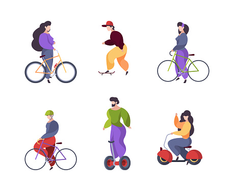 Riding people. Urban transport car scooter electric segway motorbike longboard skate garish vector flat characters riders isolated on white background
