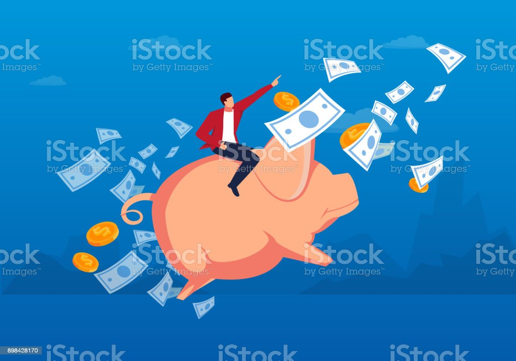 Riding piggy bank fly to the sky vector art illustration