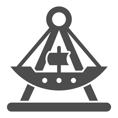 Riding ship attraction solid icon, Amusement park concept, viking boat ride sign on white background, swing boat icon in glyph style for mobile concept and web design. Vector graphics.