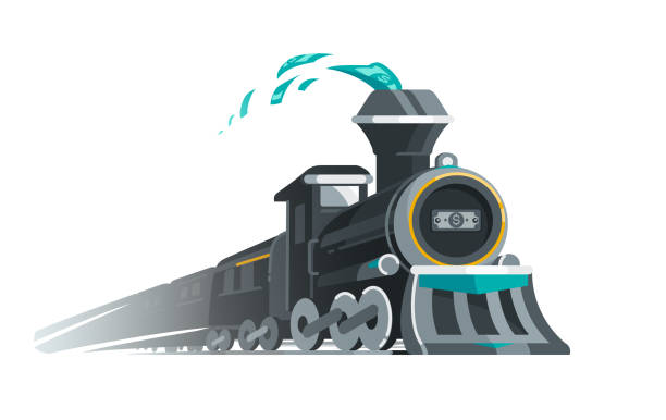 Riding the Gravy Train vector art illustration