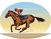 Riding thoroughbred racing horse