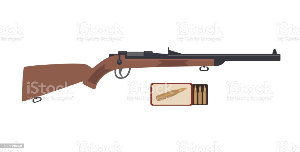Rifle and ammo box. Vector illustration isolated on white background vector art illustration