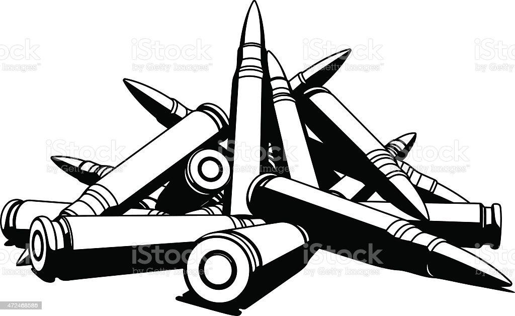 Rifle bullets over white background vector art illustration