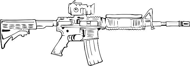 M16 rifle, comic style drawing. vector art illustration