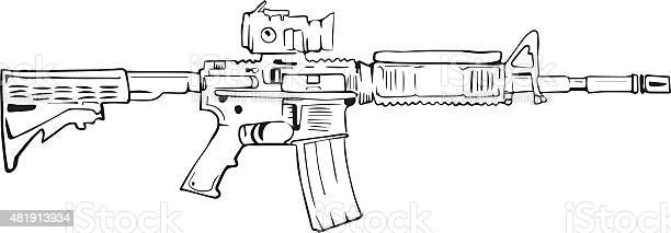 M16 Rifle Comic Style Drawing Stock Illustration - Download Image Now