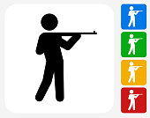 Rifleman Icon. This 100% royalty free vector illustration features the main icon pictured in black inside a white square. The alternative color options in blue, green, yellow and red are on the right of the icon and are arranged in a vertical column.