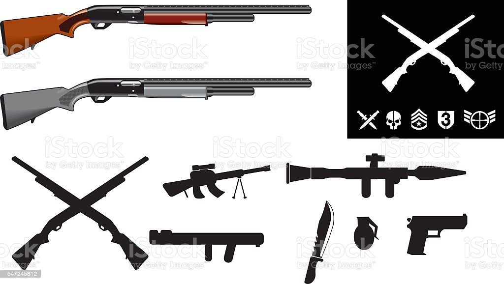 Rifles with two small crossed rifles - Illustration vector art illustration