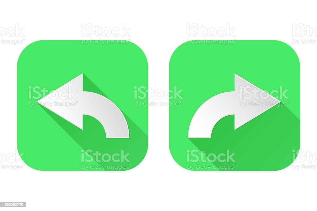 Right And Left Arrows Square Green Signs Stock Vector Art More