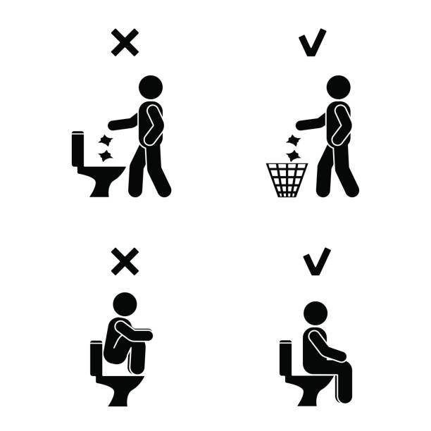 Right and wrong man people position in closet. Posture stick figure. Vector illustration of posing person icon symbol sign pictogram in toilet Right and wrong man people position in closet. Posture stick figure. Vector illustration of posing person icon symbol sign pictogram in toilet alternative pose stock illustrations
