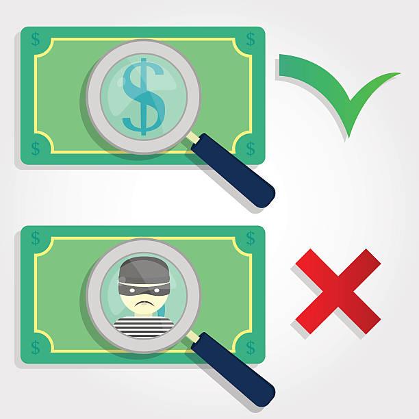 richtige und falsche geld - geldstrafe stock-grafiken, -clipart, -cartoons und -symbole