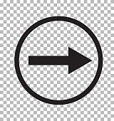 right arrow icon on transparent background. flat style. right arrow logo concept. right arrow icon for your web site design, logo, app, UI.