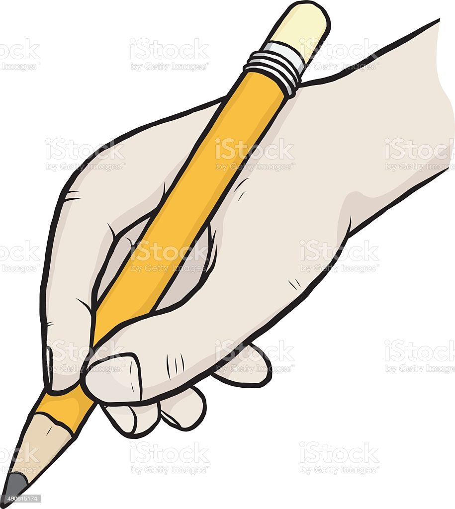 holding pencil clip art, vector images & illustrations - istock