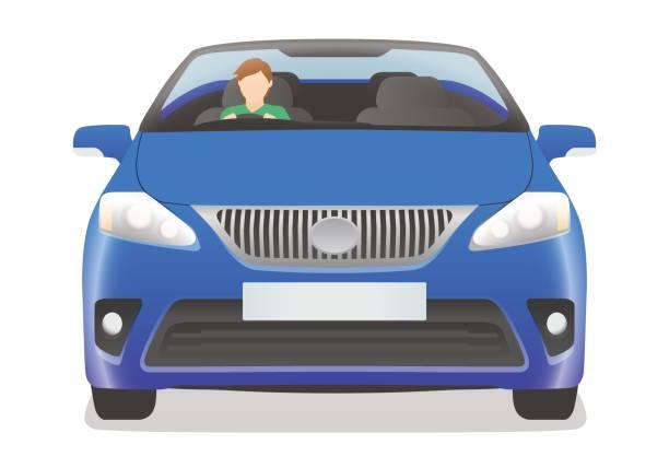 rechten hand drive auto frontansicht - edelrost stock-grafiken, -clipart, -cartoons und -symbole