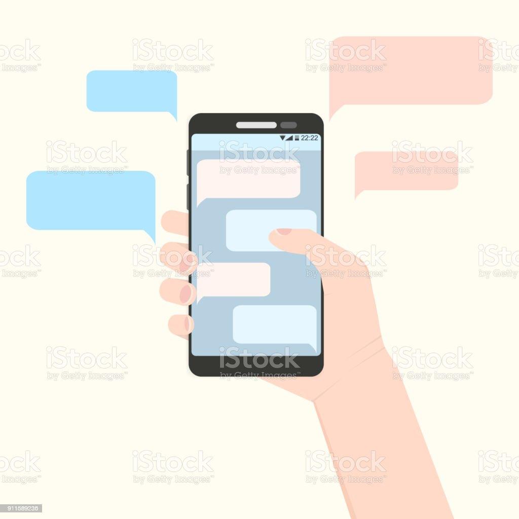 Mão direita segurando o smartphone com nuvens de mensagem - ilustração de arte em vetor