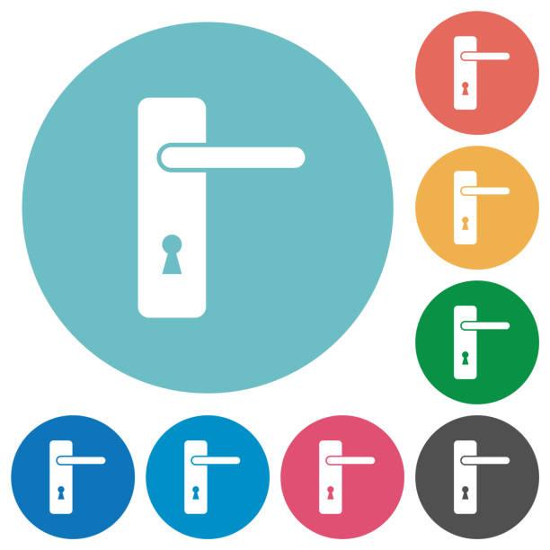 Rechten Hand Türgriff mit Schrauben flach rund Symbole – Vektorgrafik