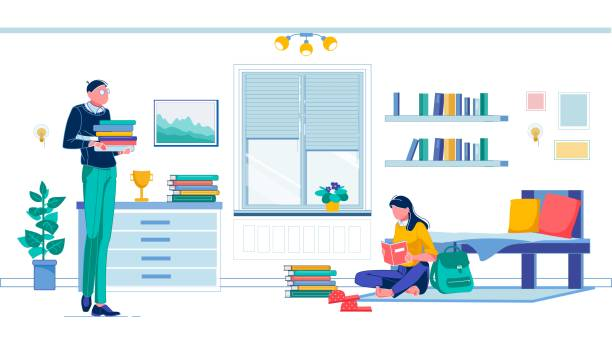 illustrazioni stock, clip art, cartoni animati e icone di tendenza di right moment to dig in in dorm room and study - compagni scuola